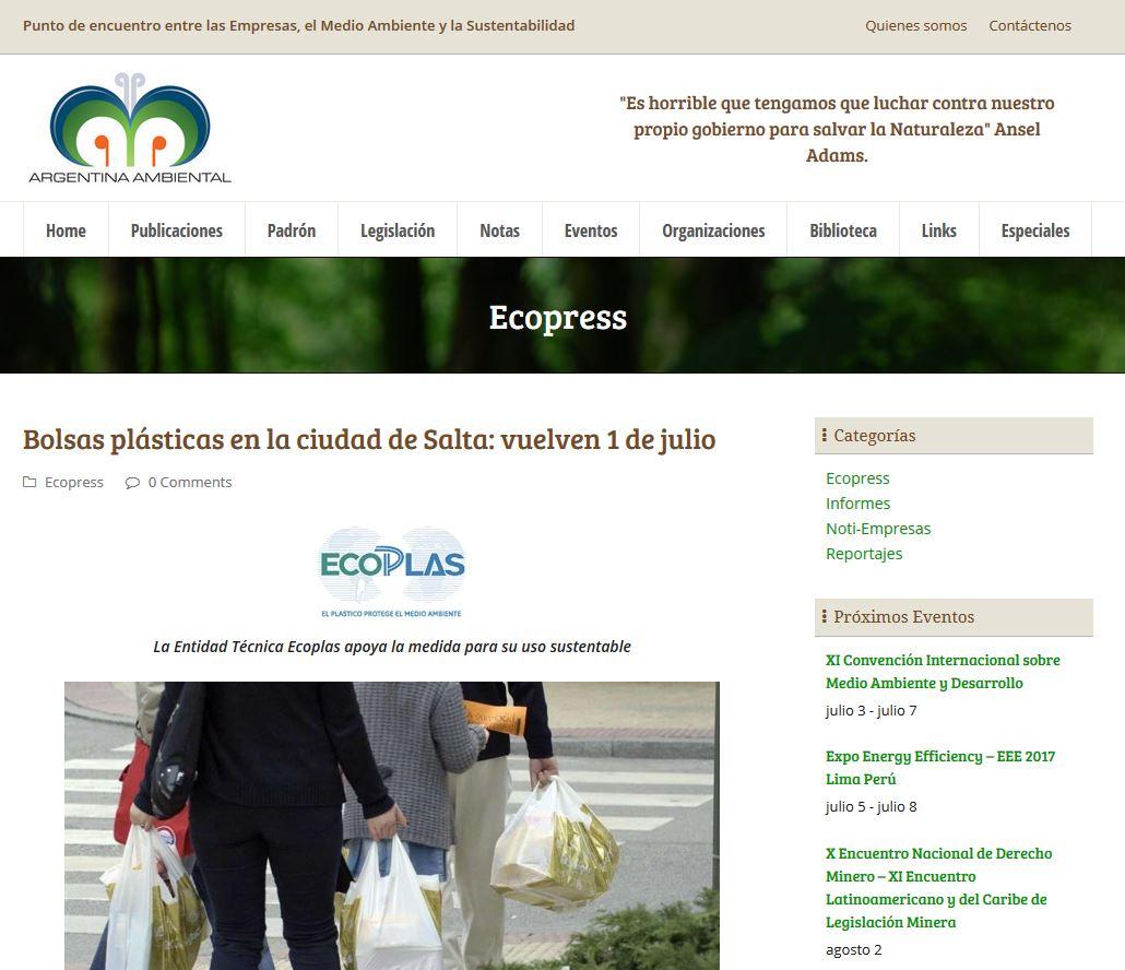 d58bf51451c Nota Ecoplas - Bolsas plásticas en la ciudad de Salta: vuelven 1 de julio