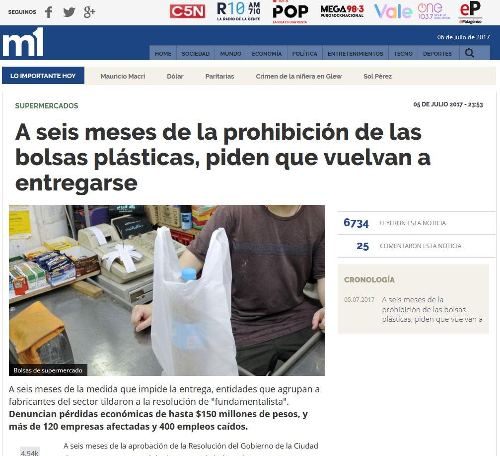 """55354d79997 Nota """"A seis meses de la prohibición de las bolsas plásticas, piden que  vuelvan a entregarse."""""""